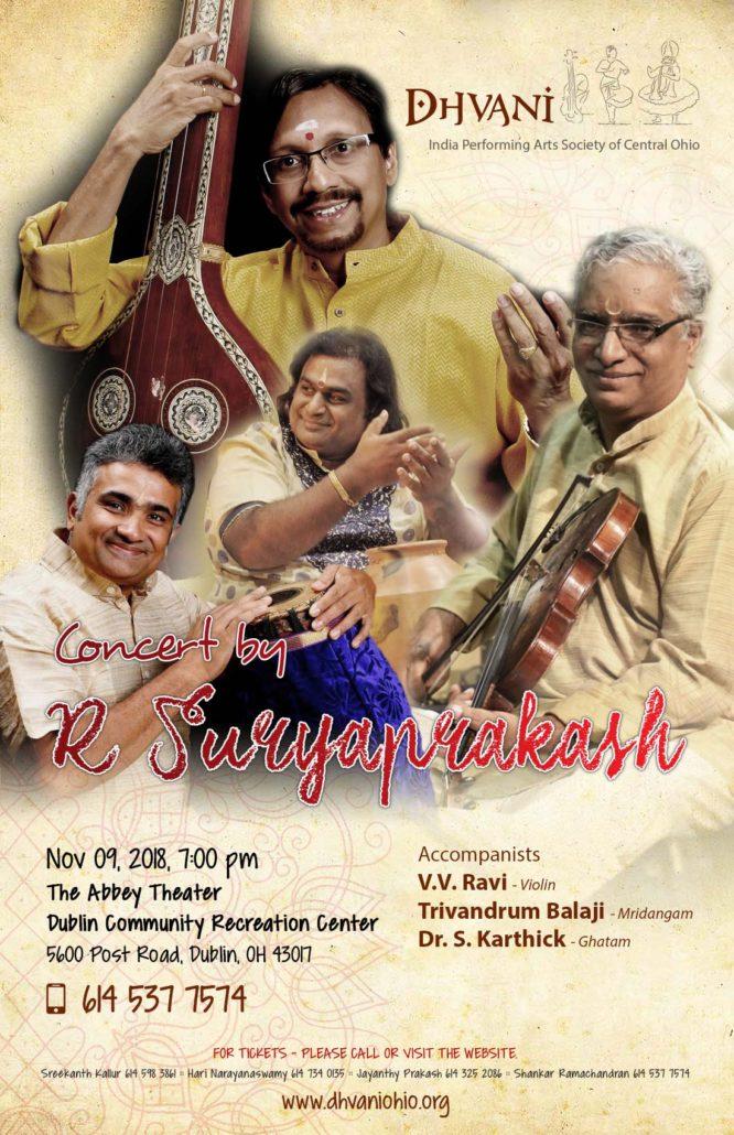 V.V. Ravi – Violin   Trivandrum Balaji – Mridangam   Dr. S. Karthick – Ghatam