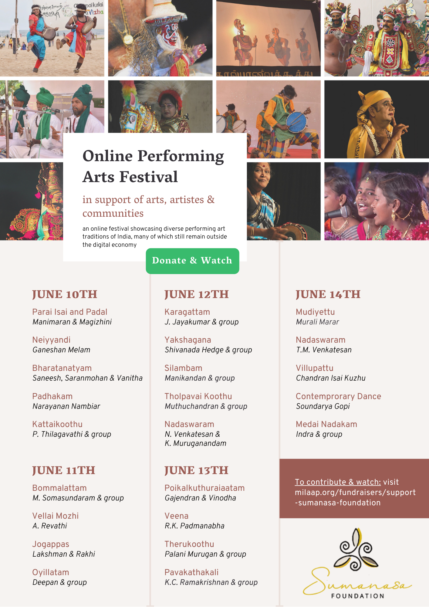 An Online Performing Arts Festival – from Sumanasa Foundation